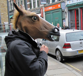 A boy in a horse mask