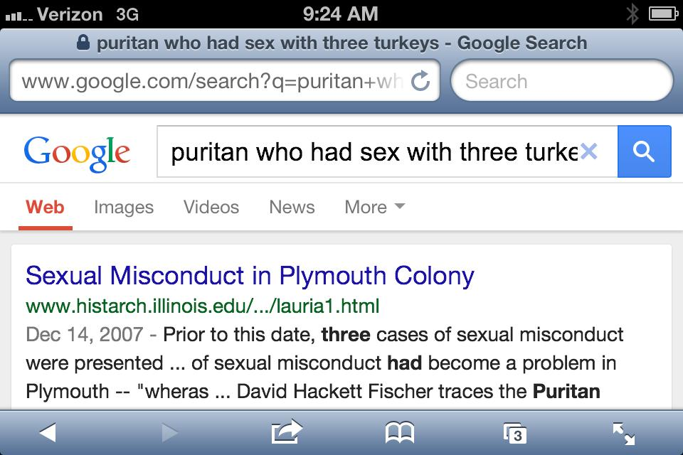 puritan who had sex with three turkeys