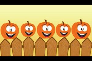 Five Little Pumpkins sitting on a gate