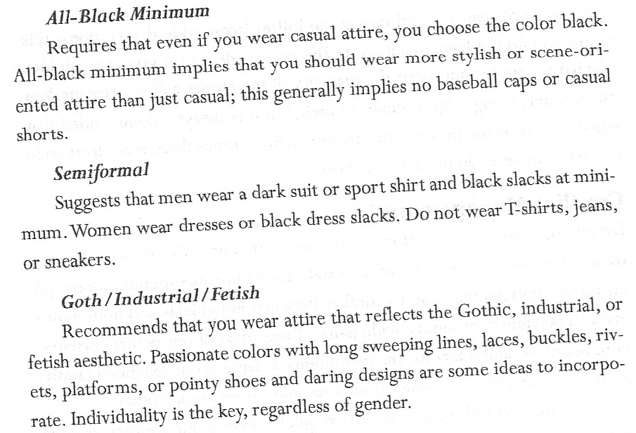 Vampire dress code.