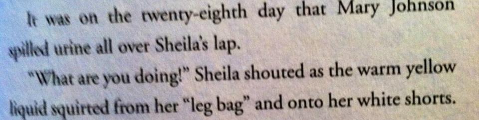 Urine on Sheila.