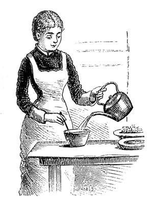 Victorian woman making tea.