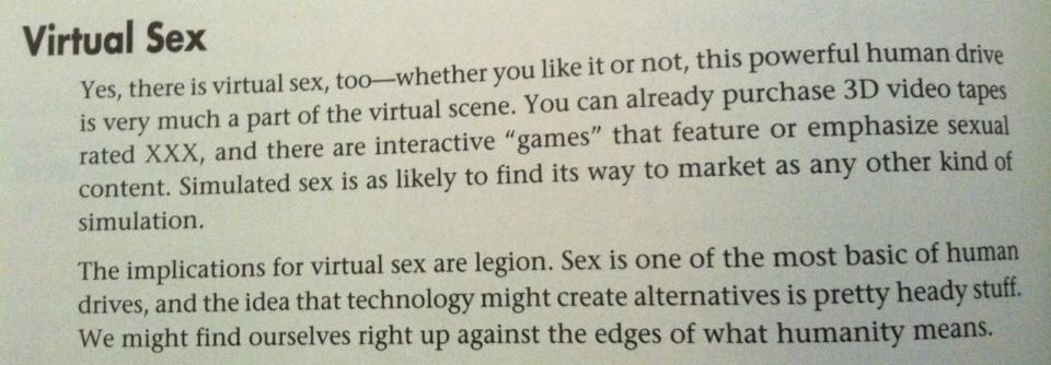 Virtual sex.