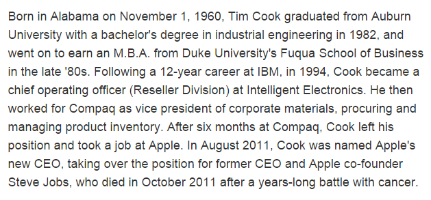 Tim Cook, CEO Apple, credential biography