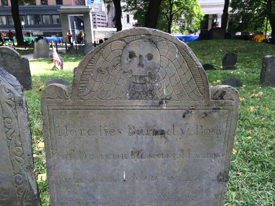Winged skull headstone