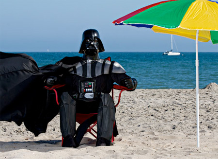 Relaxed Darth Vader, keeping calm on the beach