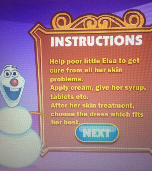 Baby Elsa Skin Allergy, Olaf's instructions